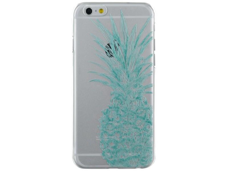 Coque semi-rigide transparente ananas bleu fluo pour iphone 6/6s