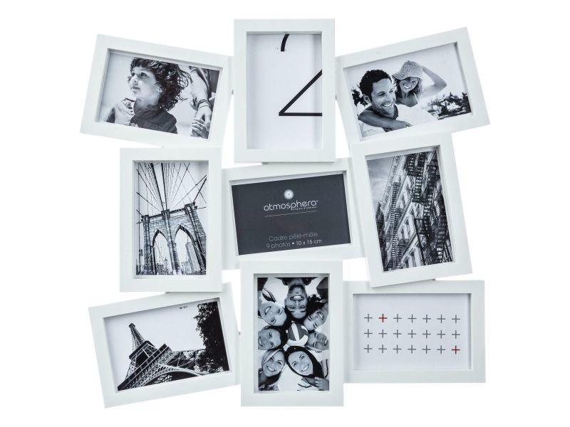 Pêle-mêle 9 photos evy - 48 x 46 cm - blanc