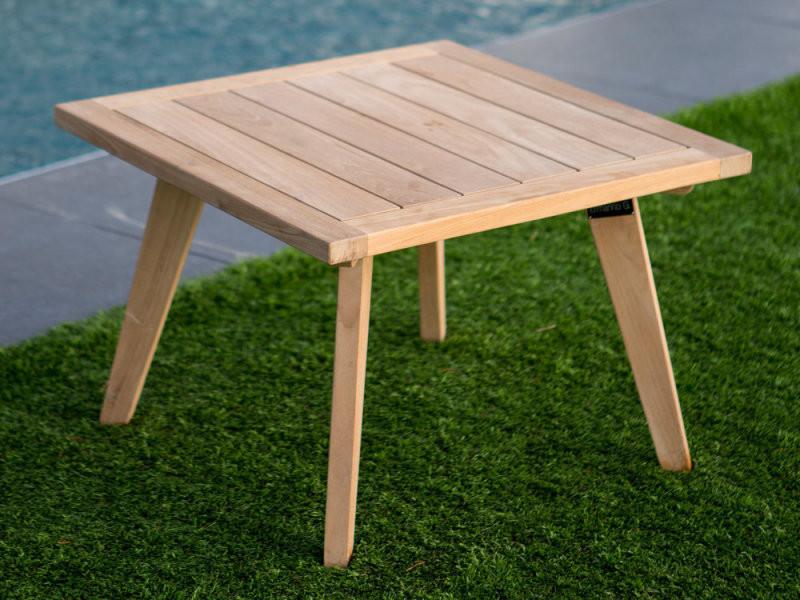Table basse de jardin en teck brut 60x60cm ethnika - Vente ...