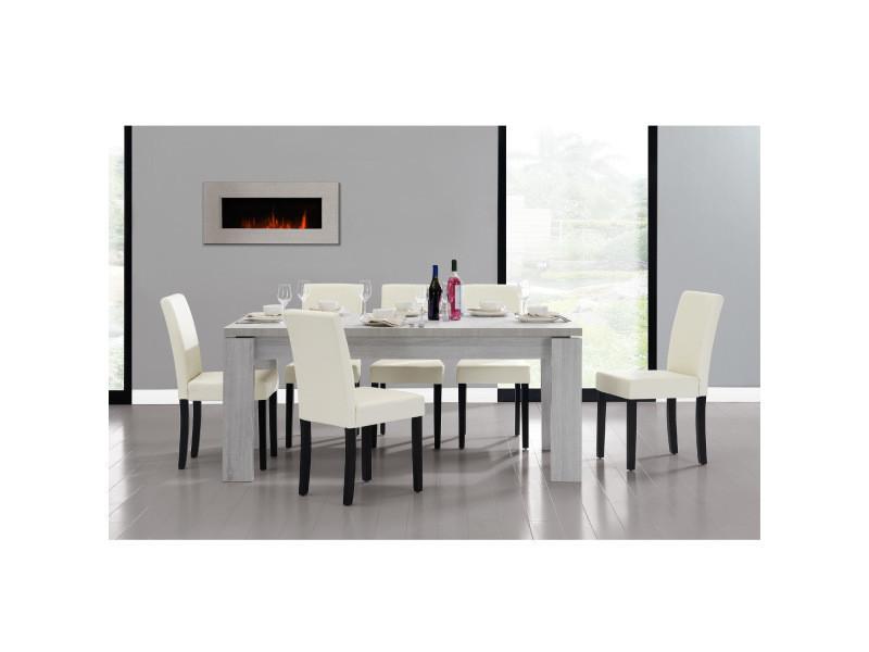 [en.casa] table et jeu de chaises 'helsinki' (blanc - 170 x 79) 6 chaises (rembourrées - crème) - en pack économique