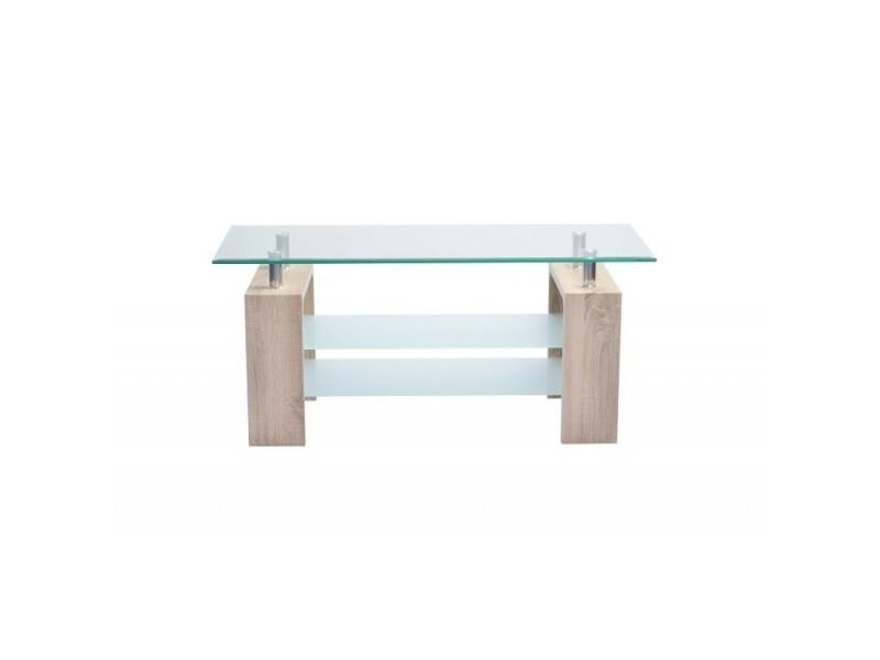 Table basse genua rectangulaire design plateau en verre et doubles sous-plateau en verre sablé, pieds coloris chêne.