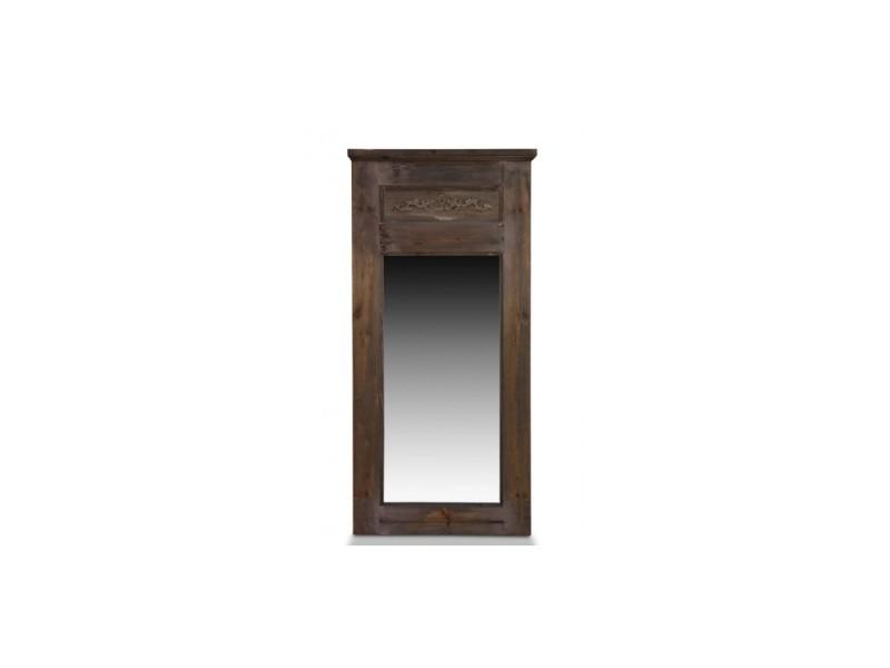 Grand miroir ancien rectangulaire vertical bois 58x4x118cm - marron - décoration d'autrefois