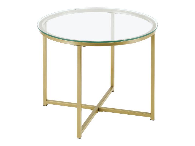 Table d'appoint pour salon table ronde design bouts de canapé de salon plateau en verre pieds croisés en acier 50 x 42 cm doré [en.casa]