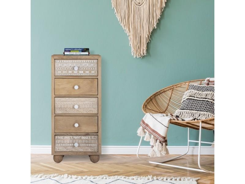 Womo-design commode naturelle, 40x88x38 cm, avec 5 tiroirs, en bois de manguier et mdf 390003213
