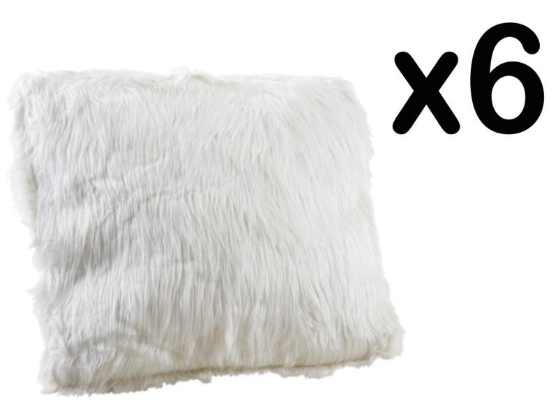 Lot de 6 coussins en fausse fourrure, blanc, 45 x 45 cm -pegane- PEGANE