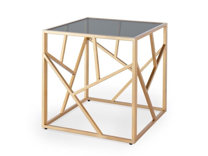 Table basse design en verre noir et métal doré carrée solal
