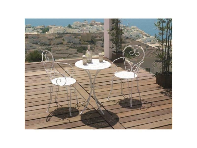 Salon de jardin - ensemble table chaise fauteuil de jardin set table de jardin romantique en fer forgé 60 cm + 2 fauteuils - blanc