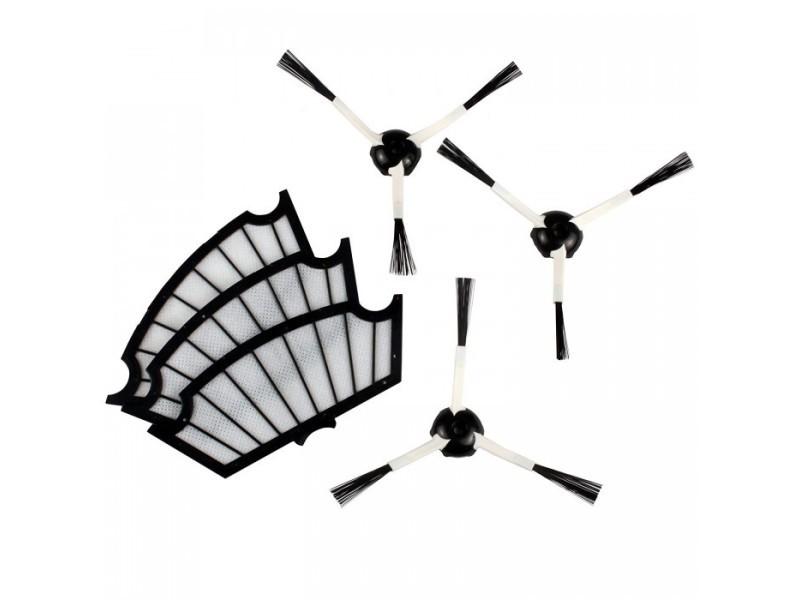 Pack 3 filtres moteurs + 3 brosses latérales mrk01 adaptables sur irobot roomba