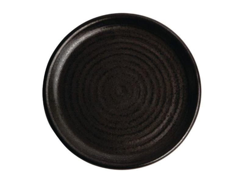 Assiette restaurant plate 180 mm - 6 couleurs - lot de 6 - olympia canvas - noir mat grès