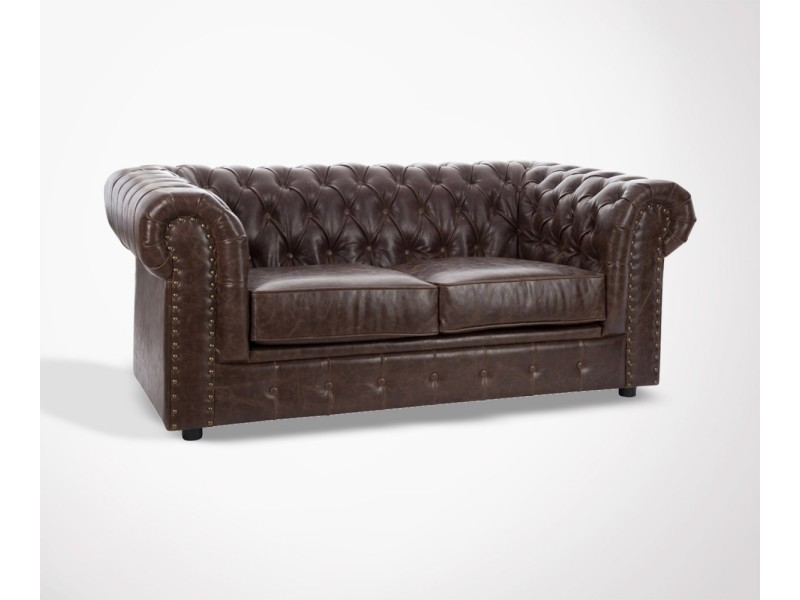 Canape Chesterfield 2 Places Simili Cuir Camden 175 Cm Conforama