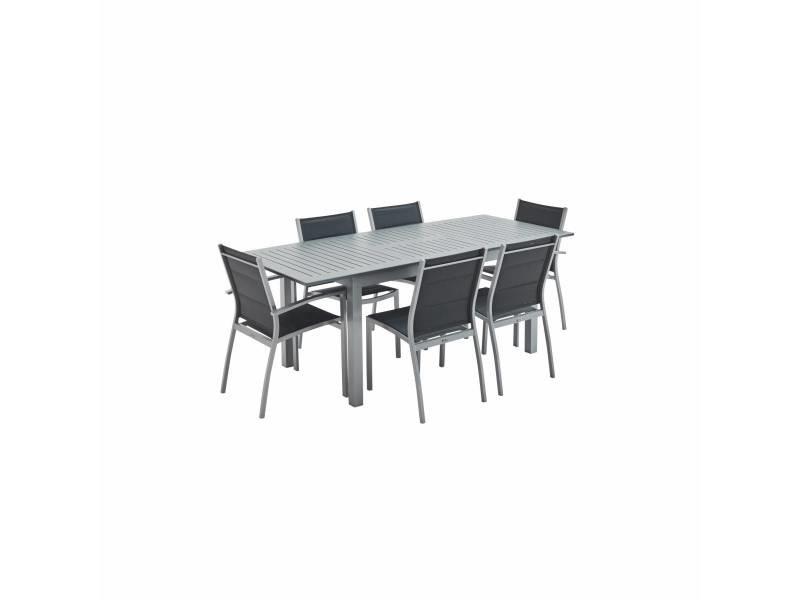 Salon de jardin table extensible - chicago 210 gris - table en aluminium 150/210cm avec rallonge et 6 assises en textilène