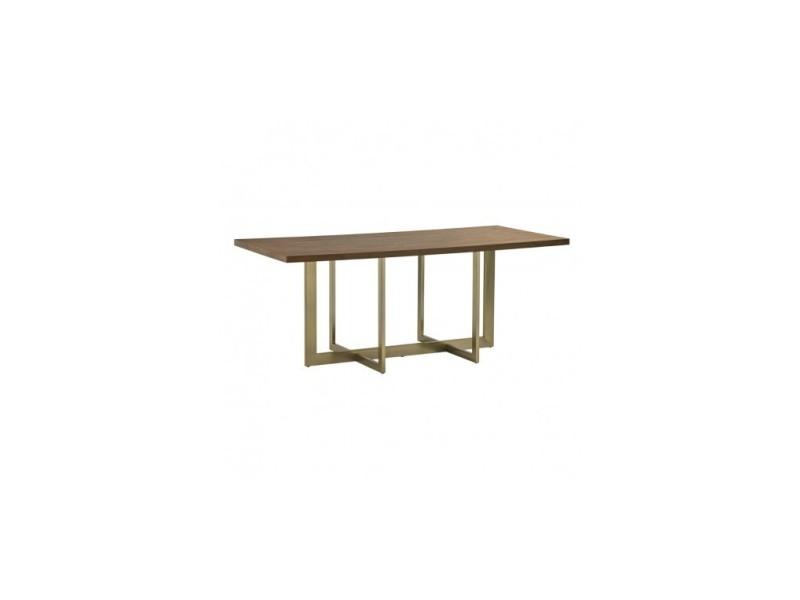 Table à manger plateau bois pieds dorés grandiose
