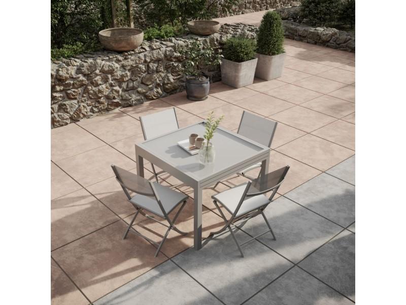 Table de jardin extensible aluminium 90/180cm + 4 chaises pliantes textilène gris - bora 4
