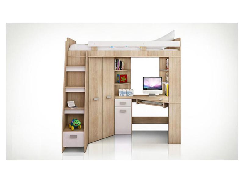 Lit surélevé blanc avec bureau armoire et échelle à gauche young