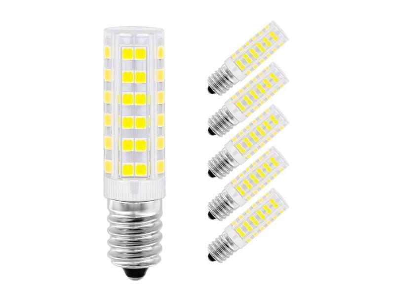 Ampoule led e14, menta, 7w equivalente à ampoule incadesent de 60w, 450lm, 6000k blanc froid, angle de faisceau de 360 dégrés, non dimmable, lot de 5