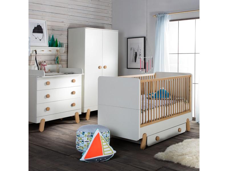 Chambre complète lit évolutif 9x9 - commode à langer - armoire 9 portes  iga - blanc et bois