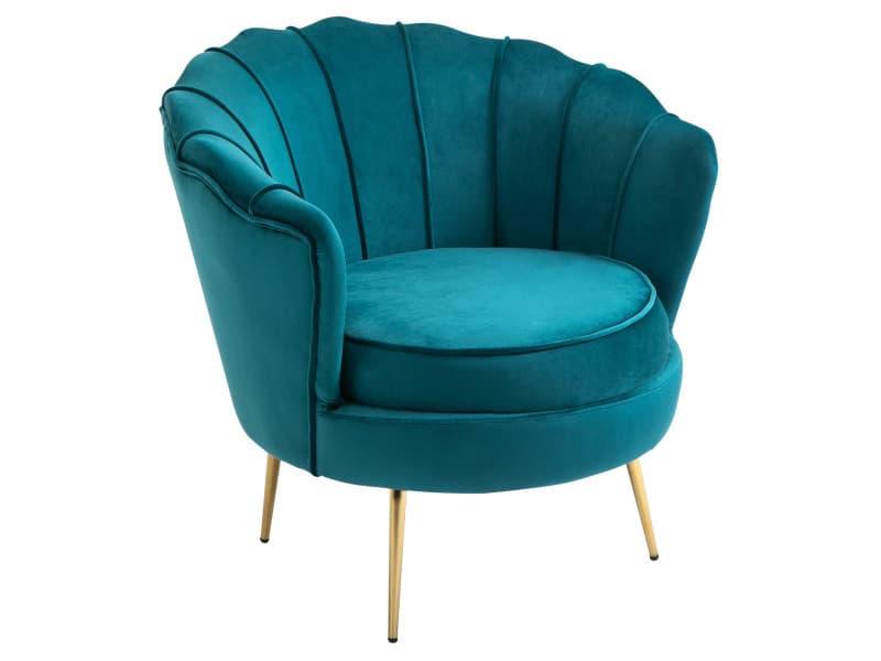 Fauteuil coquillage fauteuil design dim. 79l x 77l x 77h cm pieds dorés effilés velours bleu canard