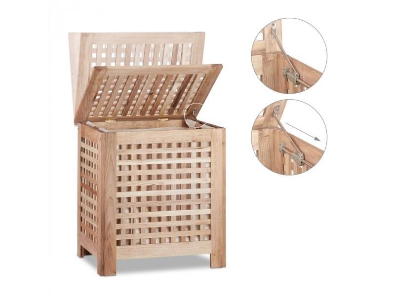 coffre panier linge en bois avec couvercle 55 x 52 cm. Black Bedroom Furniture Sets. Home Design Ideas