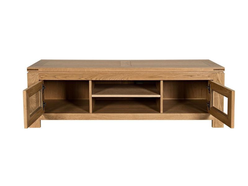 meuble tv bas moderne en ch ne clair boston vente de hellin conforama. Black Bedroom Furniture Sets. Home Design Ideas