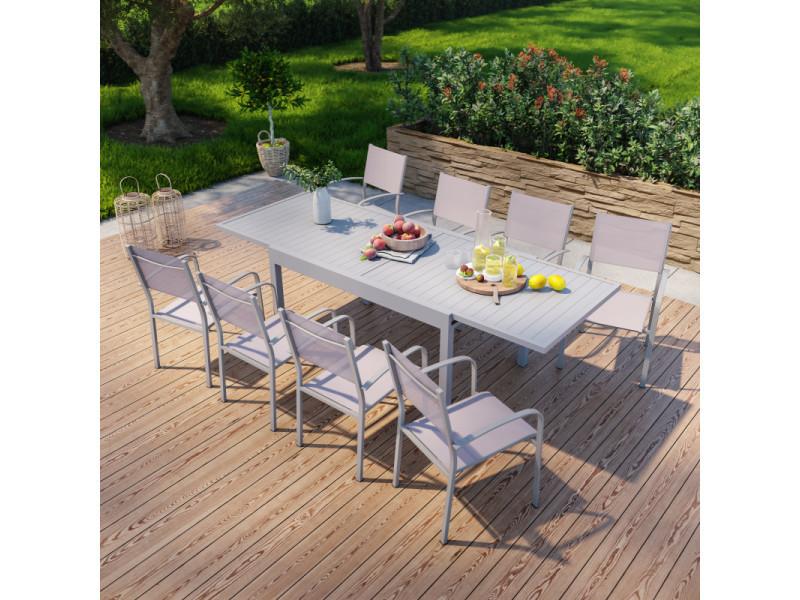Table de jardin extensible en aluminium 270cm + 8 fauteuils empilables textilène gris taupe - milo 8