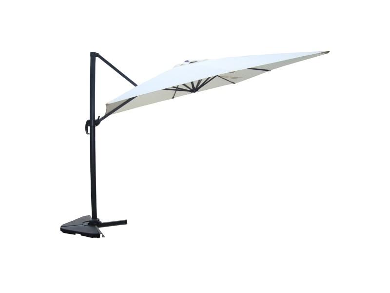Panaro écru : parasol déporté, rectangulaire de 3x4m, rotatif à 360° 1320