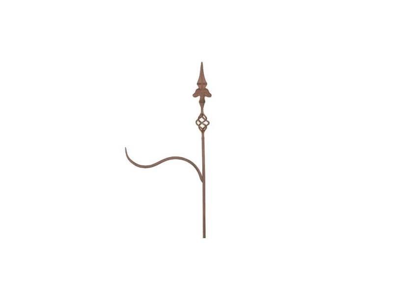 Tuteur à plantes ou pic de jardin motif fleur de lys à planter avec potence en fer patiné marron 3x36x180cm