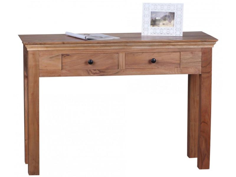 console en bois massif 110 cm avec 2 tiroirs acacia vente de comforium conforama. Black Bedroom Furniture Sets. Home Design Ideas
