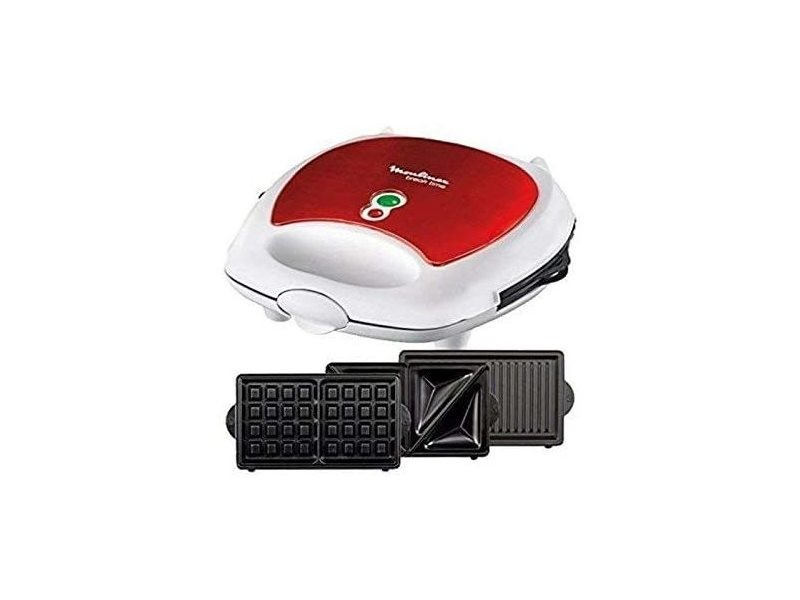 Gaufrier électrique pour gaufres et croque-monsieurs 700w rouge blanc