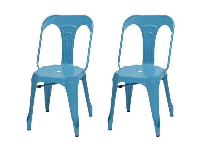 Kraft zoeli lot de 2 chaises de salle a manger - métal bleu satiné - style industriel - l 44 x p 53 cm