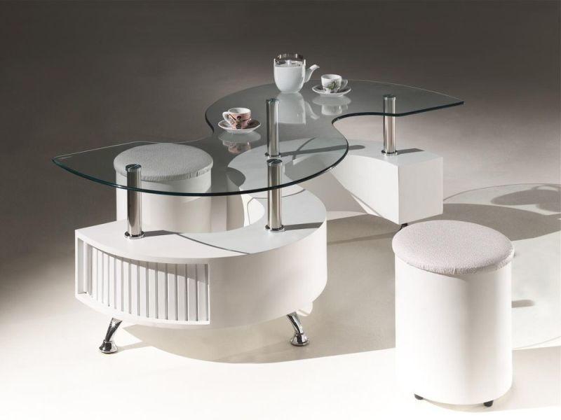 Table Basse Design S Avec 2 Poufs En Pvc Coloris Blanc P