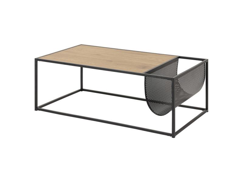Table basse / table de salon - krapina - 110x60 cm - chêne / noir - porte-revues intégré