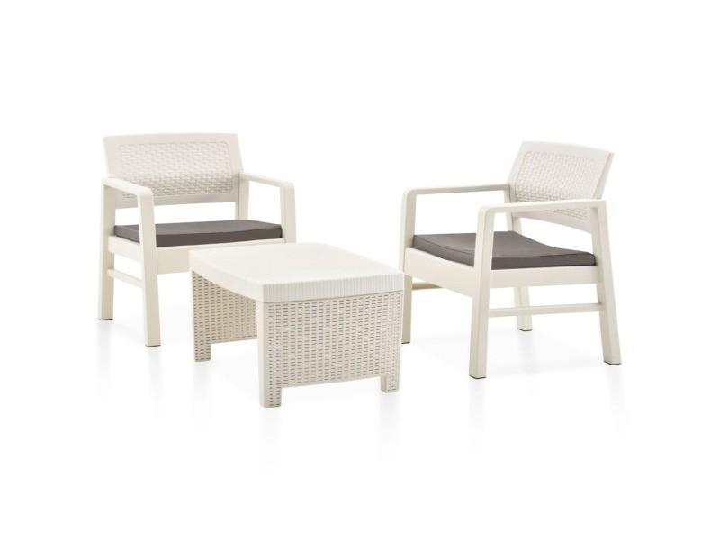 Magnifique mobilier de jardin gamme zagreb salon de jardin 3 pcs plastique blanc