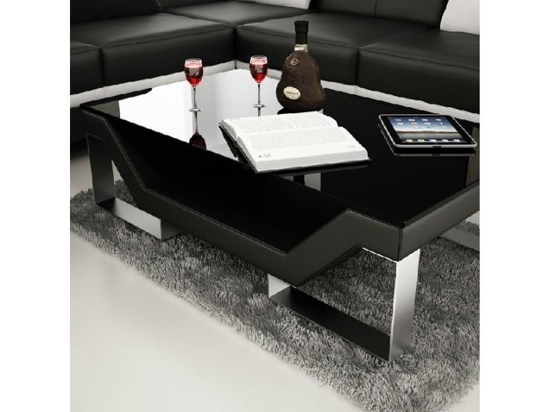 Table Basse Design Noire Pieds Chrome Ulys Conforama