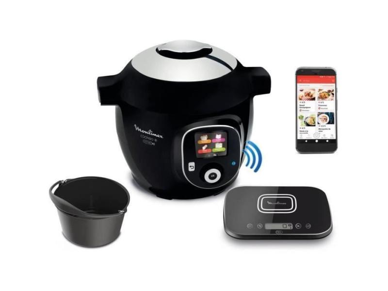 Ce859800 multicuiseur intelligent cookeo + connect avec balance et moule de cuisson inclus - 6l - 200 recettes - noir MOUCE859800