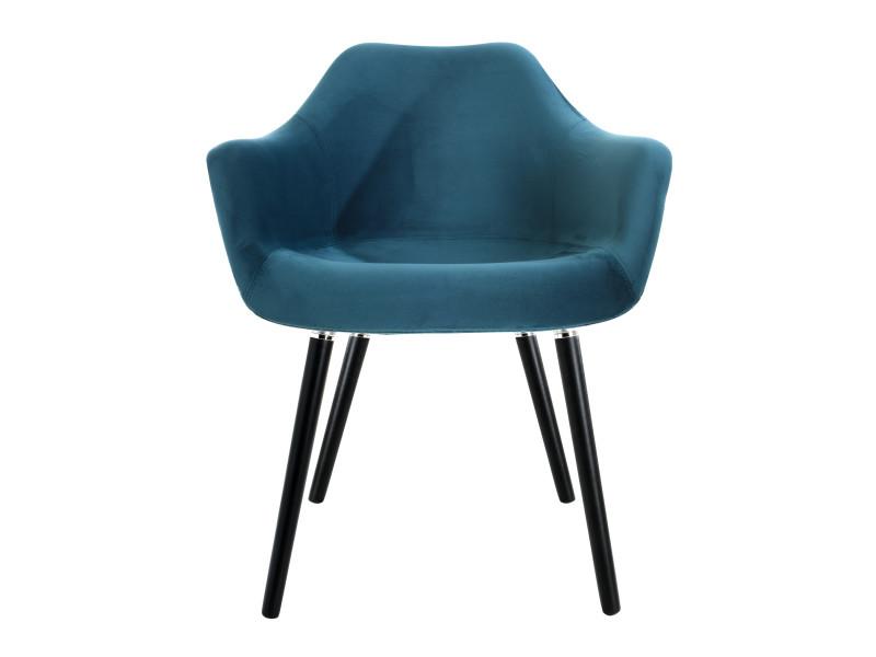 Chaise anssen en velours bleu canard