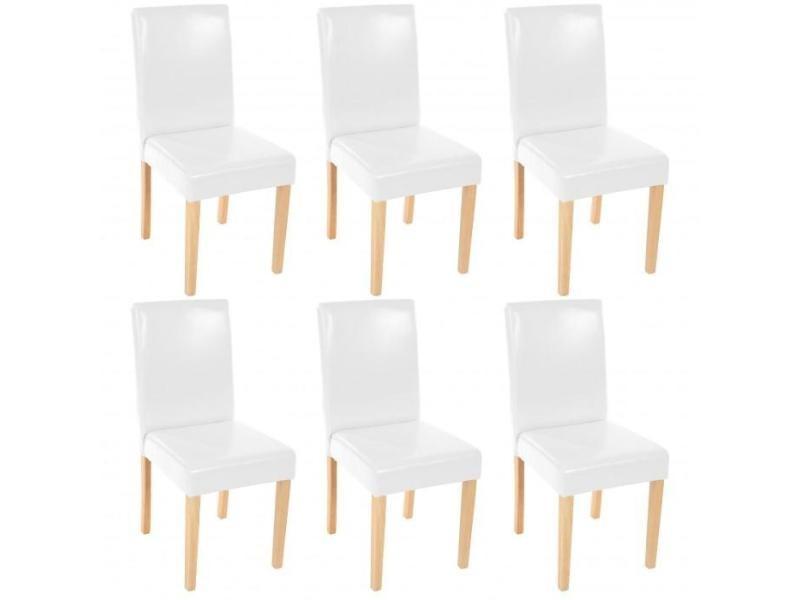 Lot De 6 Chaises De Salle à Manger Simili Cuir Blanc Pieds Clairs