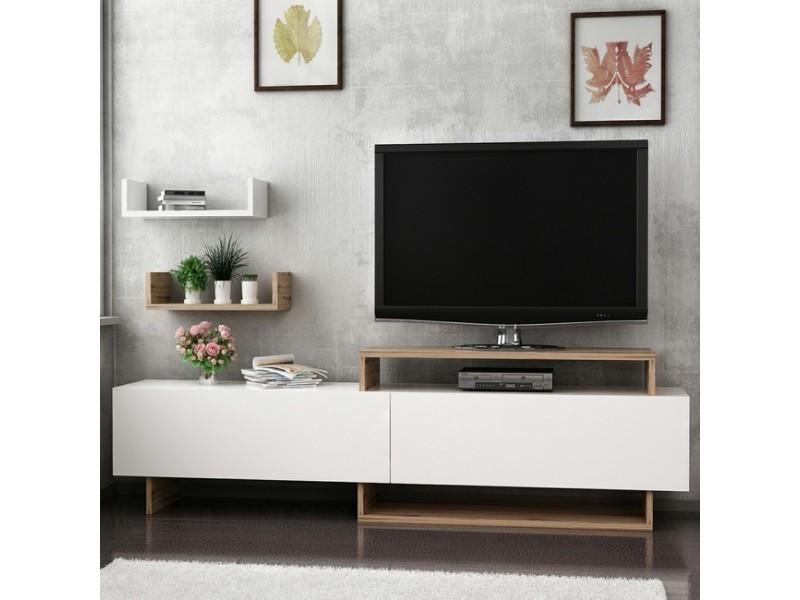 Homemania meuble tv zera moderne - avec portes, étagères - pour salon - noyer, blanc en bois, 180 x 30 x 48 cm