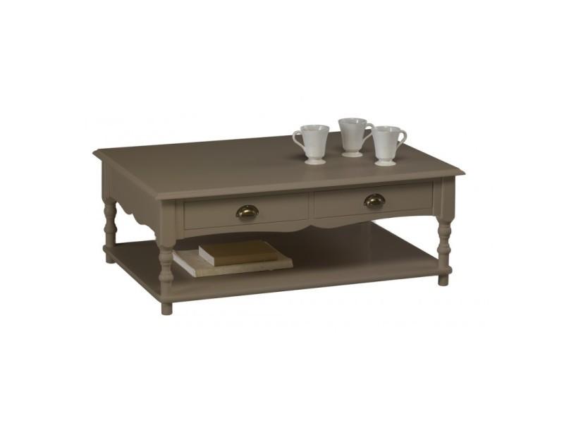 Table basse taupe 2 tiroirs va-et-vient