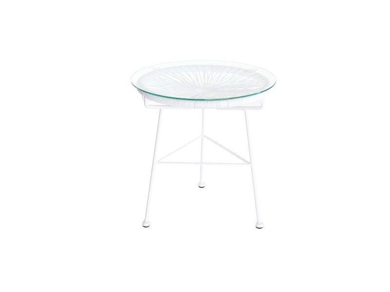 Table d\'appoint de jardin en fils de résine blanc bellavista ...