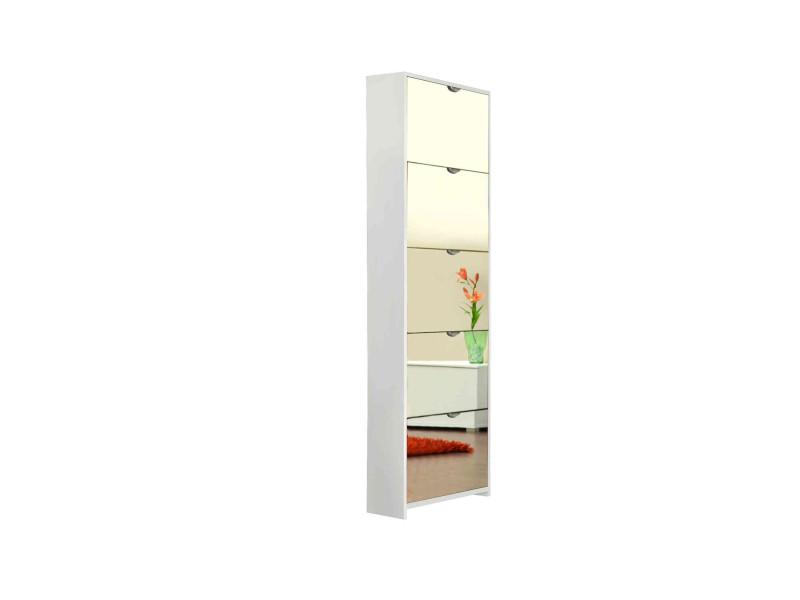 Meuble à chaussures miroir 5 tiroirs en bois coloris blanc - mc7040