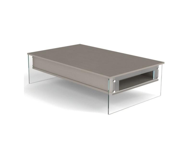 Table basse relevable taupe bella 130x80cm piétement en verre 20100876518