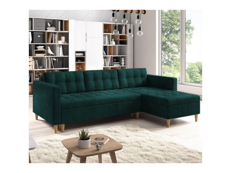 Canapé d'angle convertible - kopenhaga - tissu monolith 37 vert bouteille - pieds en bois