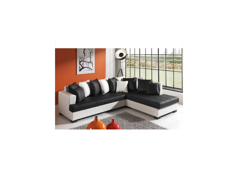 Canapé d'angle à droite en pu blanc et noir - paros