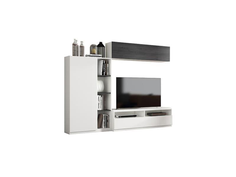 Composition meuble tv bois blanc/bois noir - camelia n°3 - l 240 x l 45 x h 190 - neuf