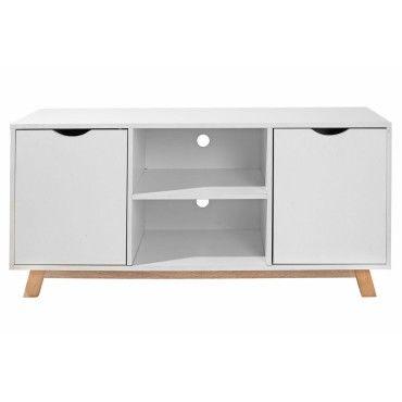 flo meuble tv t l vision style scandinave blanc vente de. Black Bedroom Furniture Sets. Home Design Ideas