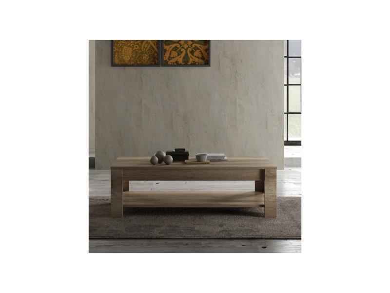 Table basse double plateau chêne moyen - verone - l 140 x l 68 x h 45 - neuf