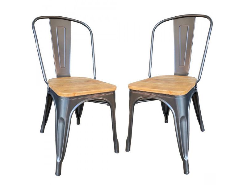 Nevada - lot de 2 chaises de repas acier gris et bois clair