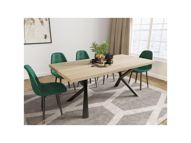 Table à manger design en bois et métal 6 personnes kinga ZL201901708-TAB