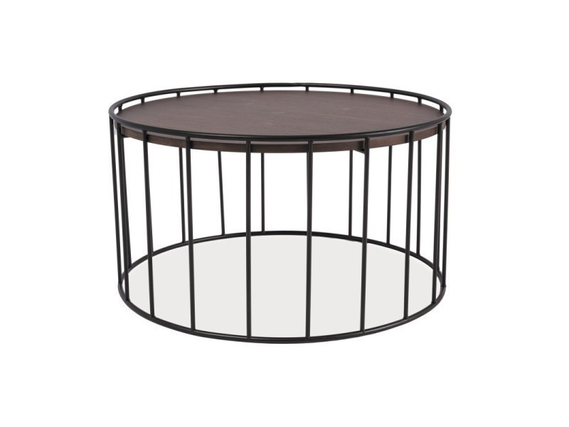Table basse industrielle rena plateau bois contour métal TENDENCIO