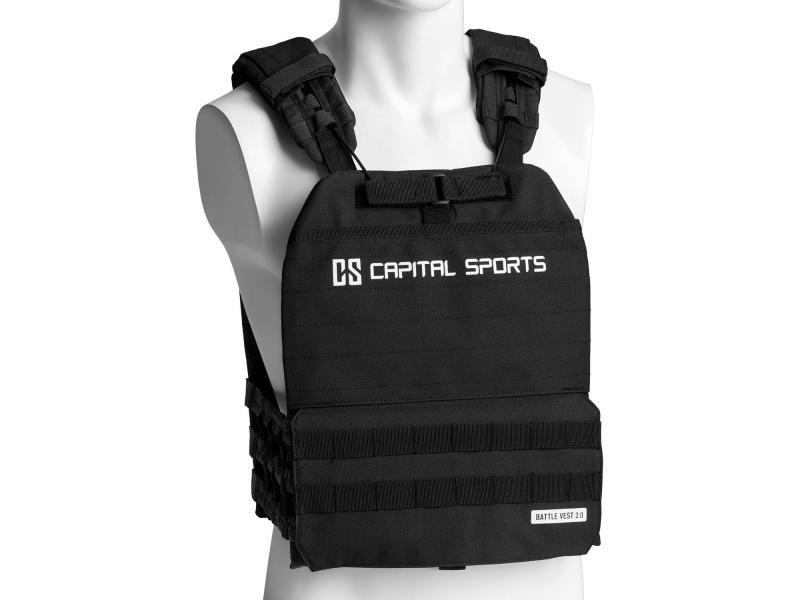 Capital sports battlevest 2.0 veste lestée de poids 8 kg - exercices musculation & fitness - 2 disques en acier / 2x 4kg) - noire FIT20-BV 17.5lbsBK